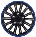 "15"" Gloss Black & Blue Wheel Trims"